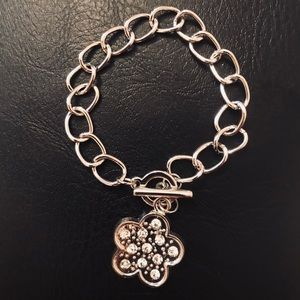 Crystal floral Charm Bracelet with toggle clasp